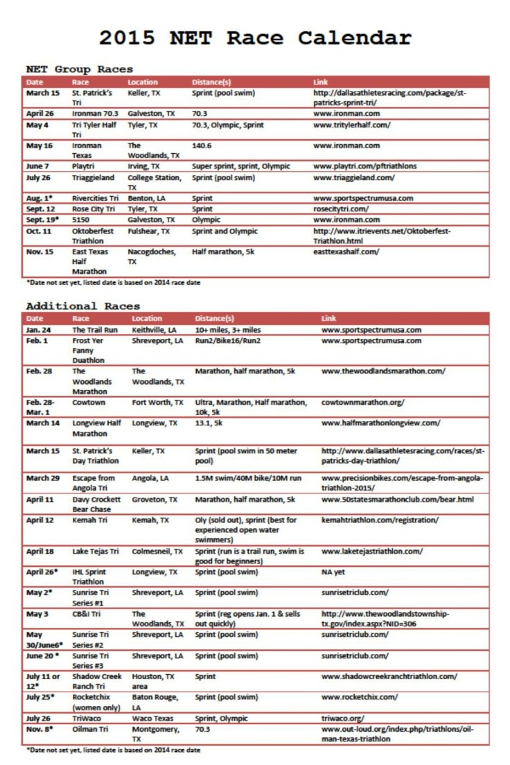 2015 NET Calendar
